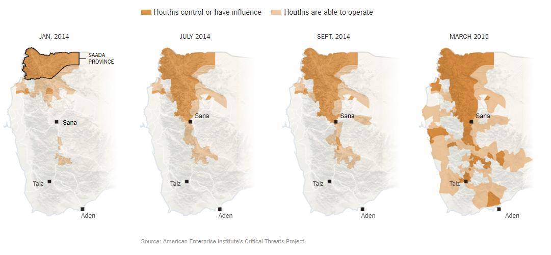 مراحل تمدد الحوثيين