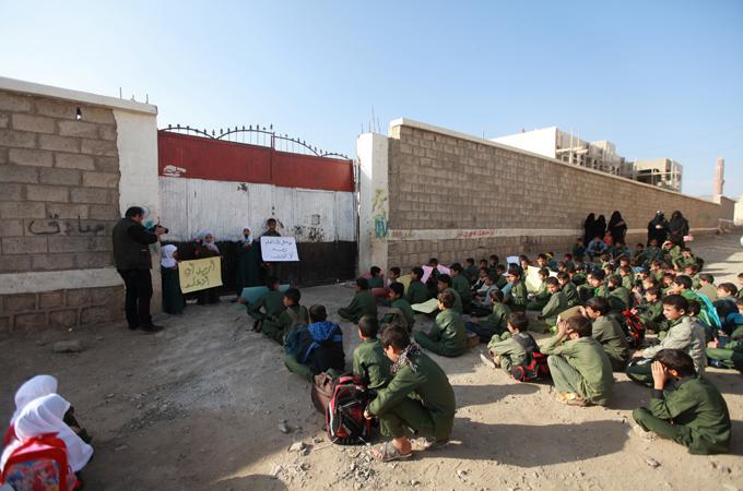 حي شملان, احتلال مدرسة, الحوثيين