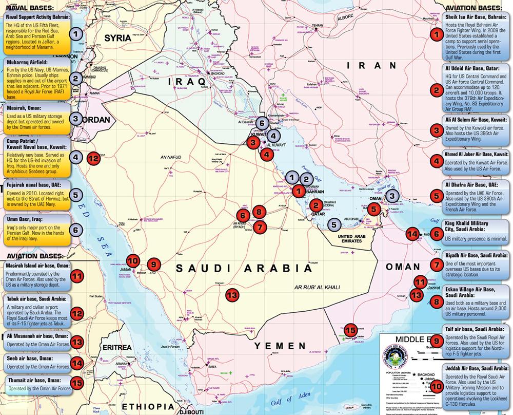 القواعد العسكرية الأمريكية في الخليج العربي