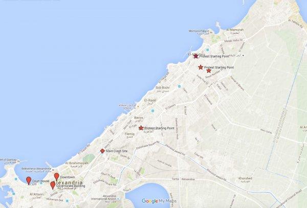 الشكل (1) يوضح نقاط بدء التظاهرات والإشتباك، يالأسكندرية، فى 25 يناير 2011