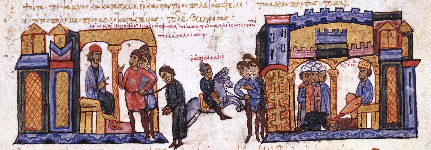 Leo_Phokas_sents_the_captive_Arab_general_Apolasaeir_to_Constantinople