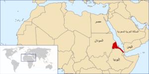 موقع إريتريا على الخريطة باللون الأحمر