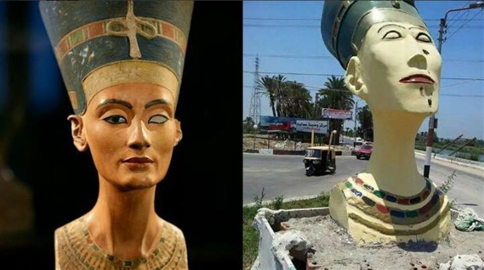 تمثال نيفرتيتي النسختين الأصلية والمشوهة