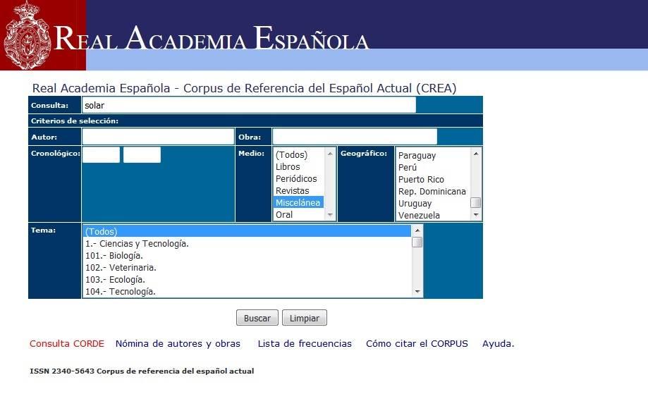 كوربوس اللغة الإسبانية، موقع الأكاديمية الملكية الإسبانية