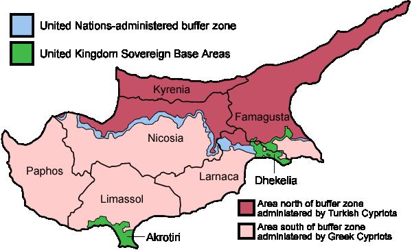 خريطة توضح السيطرة الدولية على الجزيرة المنقسمة
