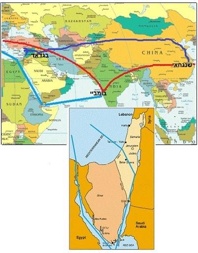 جاء التعليق على تلك الصورة فى إحدى الصحف الإسرائيلية كالآتى: «اللون الأزرق يوضح طريق الحرير التاريخي للتجارة القديمة. الأحمر يوضح التجارة القارية بين أوروبا والصين عبر بومباي. بينما اللون الأزرق السماوي يوضح طريق التجارة بعد تأسيس قناة السويس. اما الخريطة الصغيرة فتوضح مشاركتنا المستقبلة فى كل ذلك».