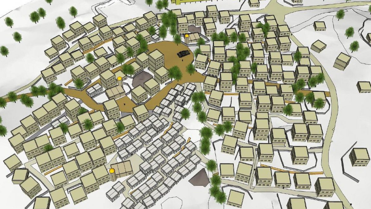 تصميم المدينة العسكرية التي تحاكي مدنا عربية وفلسطينية ذات مبان متعددة الطوابق (الجزيرة)