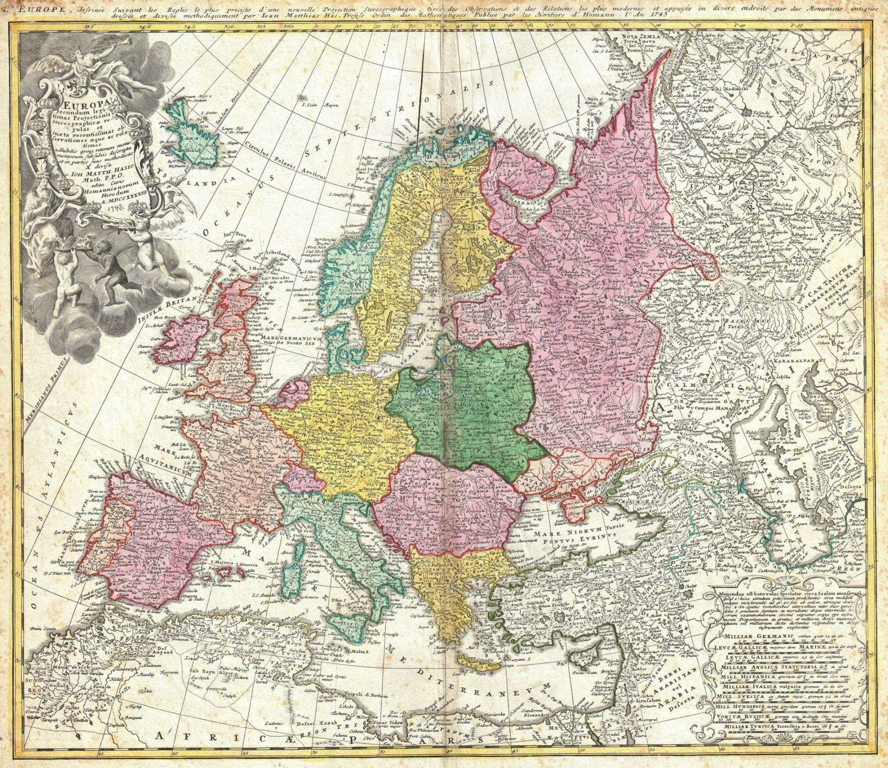 خريطة لأسكندنافيا. من رسم الجغرافي ورسام خرائط الألماني يوهان بابتيست هومان (1664 - 1724) ، مؤرخة من 1715. المصدر ويكيبيديا