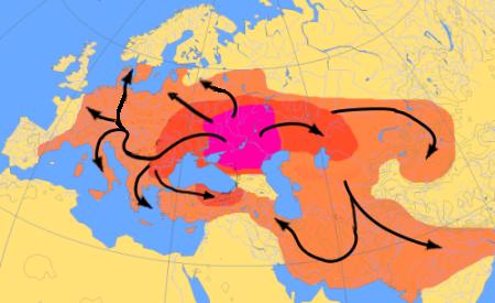 مخطط الهجرات الهندوأوروبية من 4000 إلى 1000 قبل الميلاد وفقا لنظرية كورغان (المصدر : ويكيبيديا)