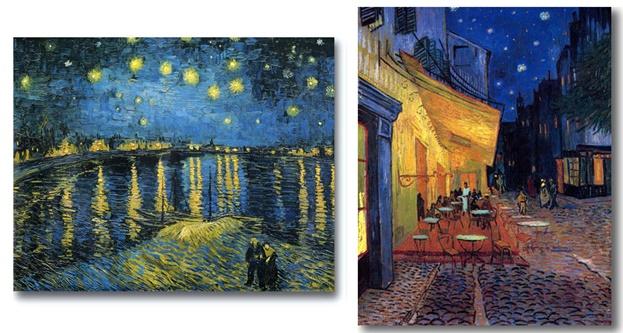 شرفة مقهى في الليل، ليلة النجوم على سماء الرون