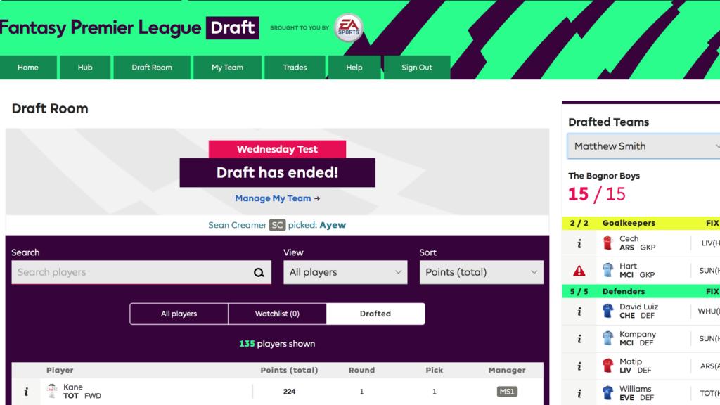 الدوري الإنجليزي، فانتازي، درافت، FPL Draft
