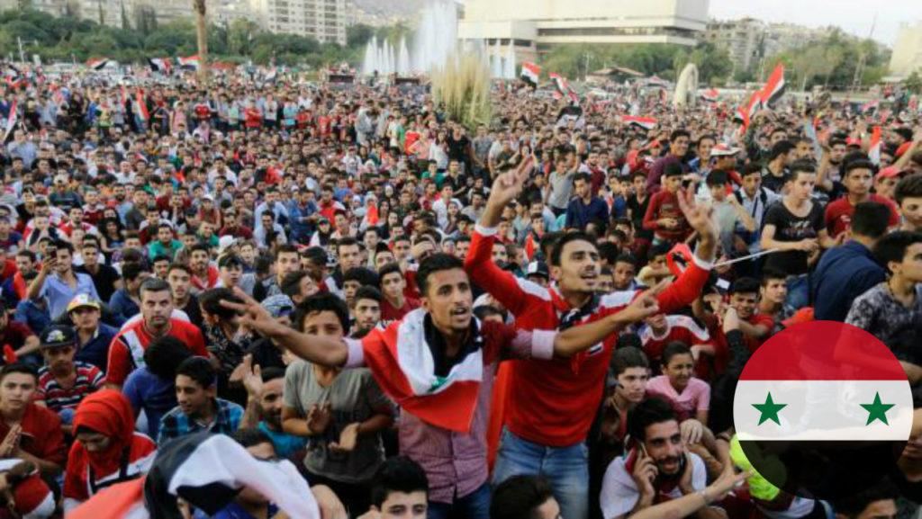 مشجعو منتخب سوريا في ساحة الأمويين