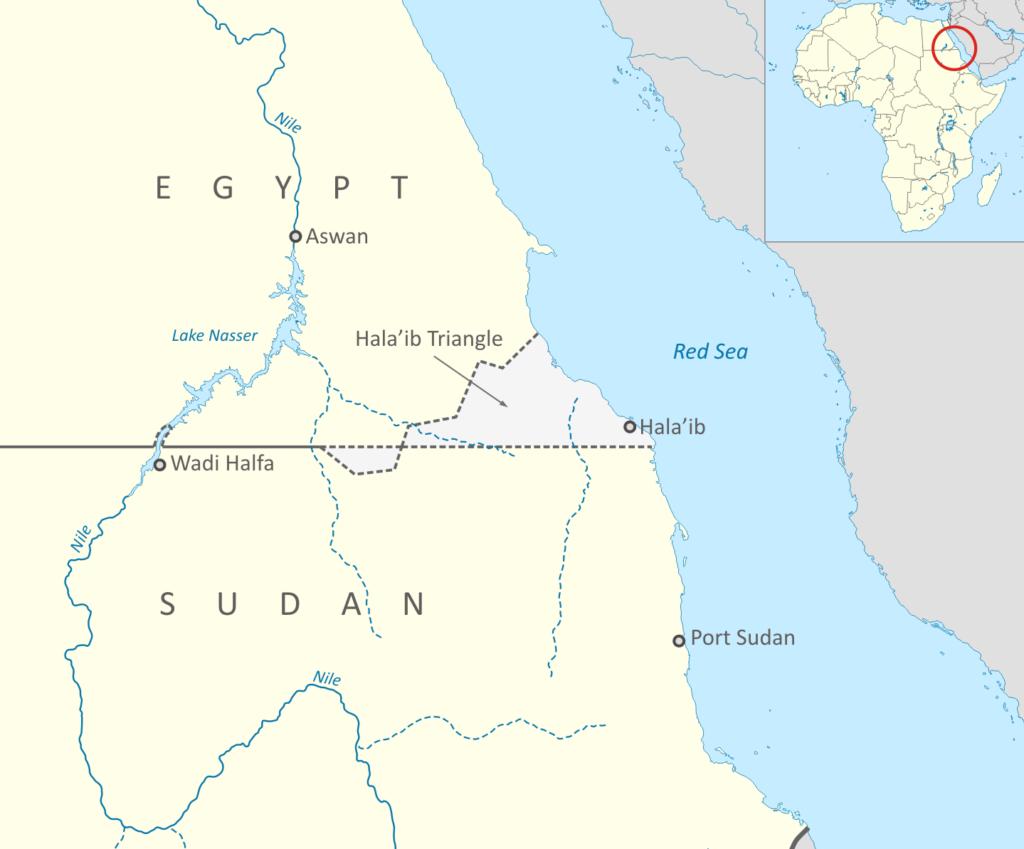 مثلث حلايب المتنازع عليه بين مصر والسودان.