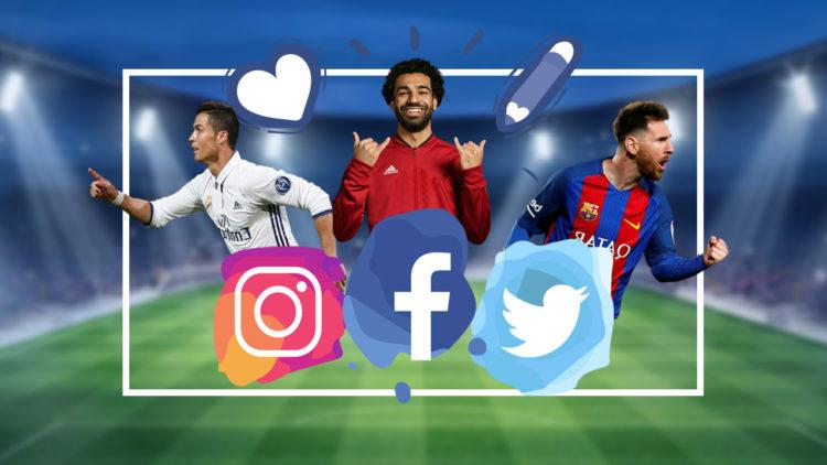 محمد صلاح، ليونيل ميسي، كريستيانو رونالدو، مواقع التواصل الاجتماعي