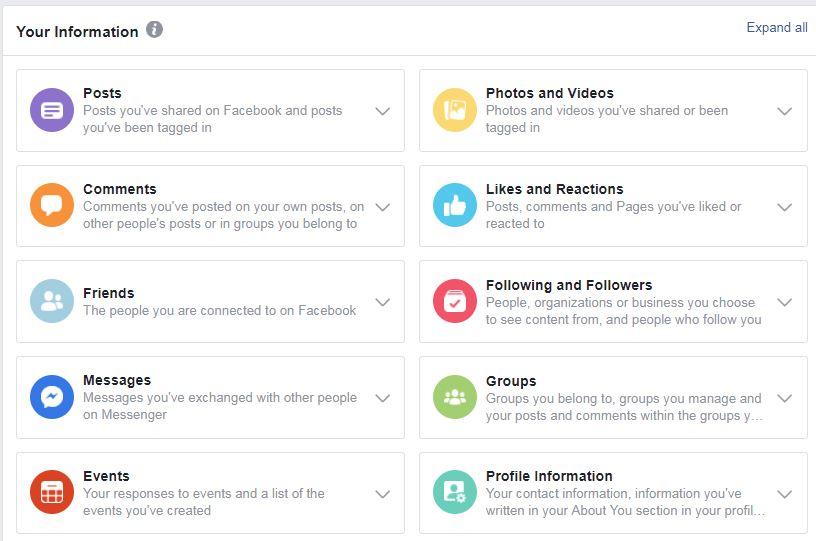 بيانات فيسبوك، إعدادات فيسبوك، خصوصية