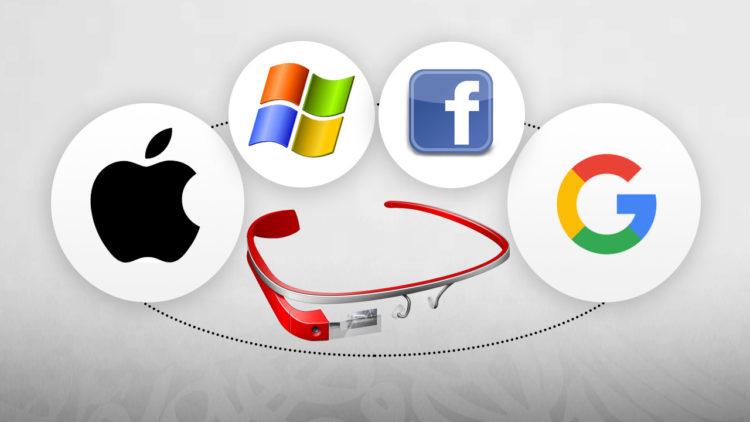 شركات تقنية, جوجل, فيسبوك, ميكروسوفت, وآبل, نظارة جوجل