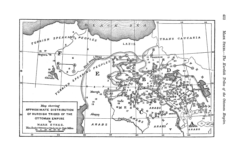 خريطة القبائل الكردية في الإمبراطورية العثمانية