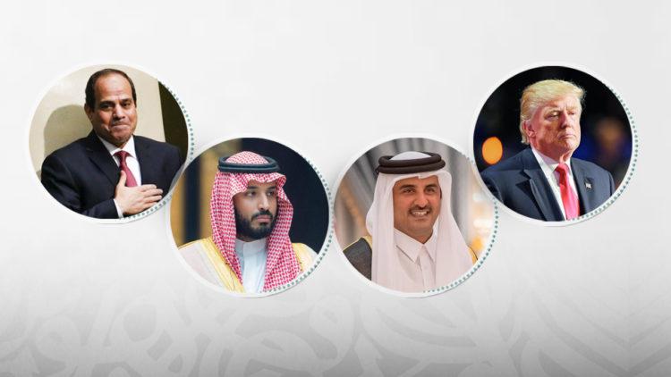 دونالد ترامب، تميم بن حمد آل ثاني، محمد بن سلمان، عبد الفتاح السيسي