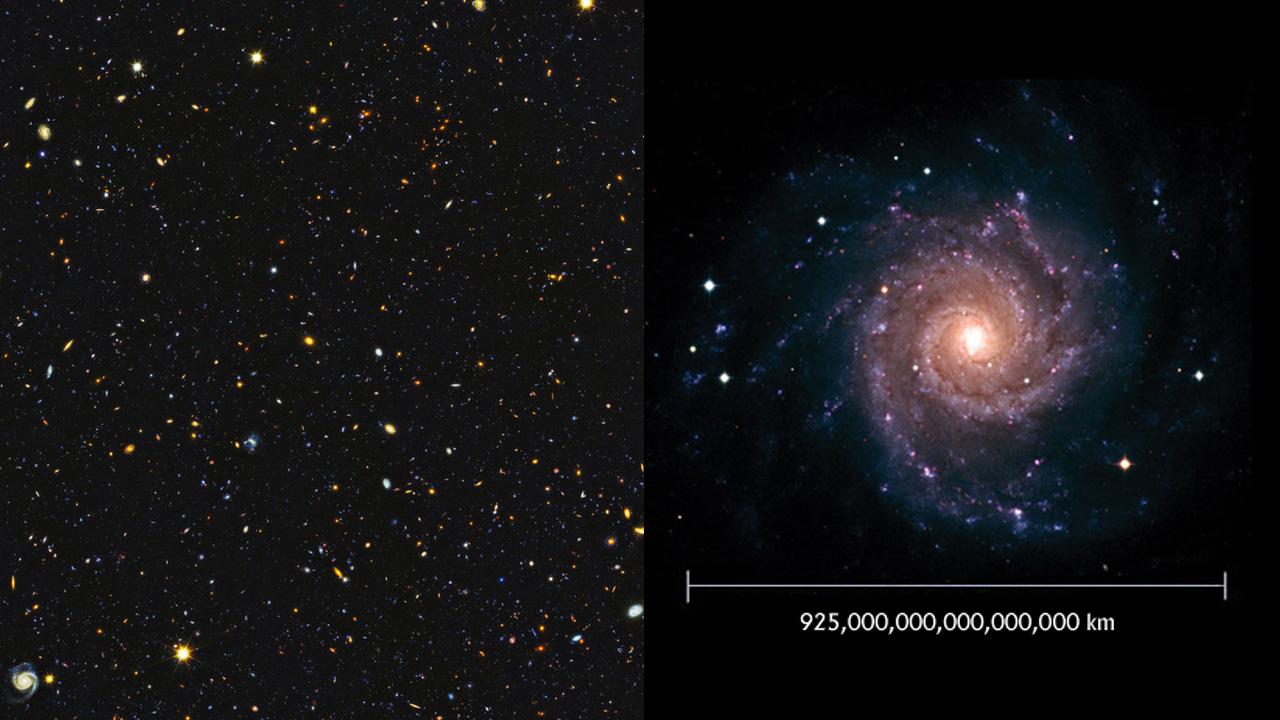 Hubble Ultra-Deep Field وهي صورة لمساحة صغيرة من الكون فيها حوالي 10 آلاف مجرة،
