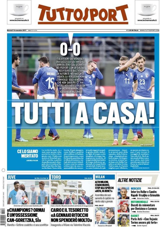 الصفحة الأولى لجريدة توتو سبورت بعد الفشل في التأهل للمونديال.