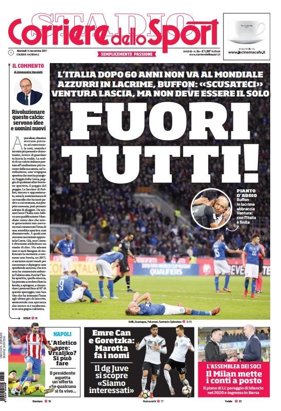 الصفحة الأولى لجريدة كوريري ديللو سبورت بعد الفشل في التأهل للمونديال.