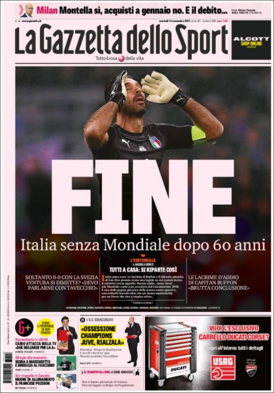 الصفحة الأولى لجريدة لاجازيتا ديللو سبورت بعد الفشل في التأهل للمونديال.