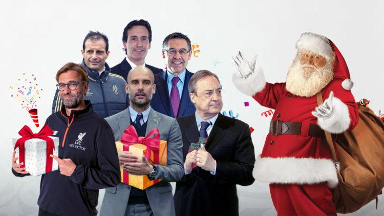 سانتاكلوز، بابا نويل، بيب جوارديولا، يورجن كلوب، أوناي إيمري، أليجري، فلورنتينو بيريز، جوسيب بارتوميو