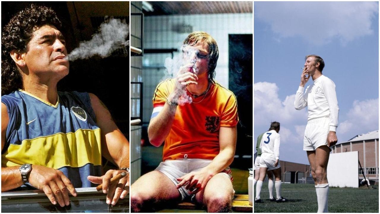 يوهان كرويف، دييجو مارادونا، جاك شارلتون، التدخين، كرة القدم، الأرجنتين، هولندا، إنجلترا.