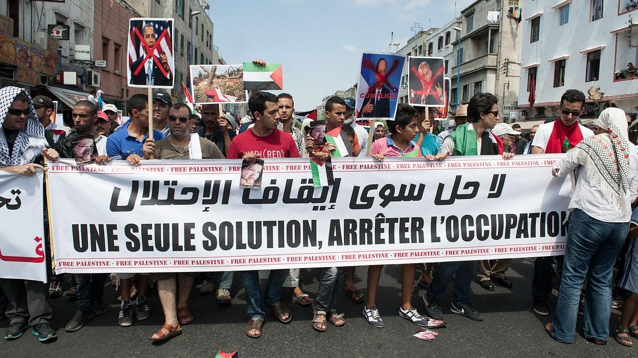 مظاهرة لدعم القضية الفلسطينية في كازابلانكا