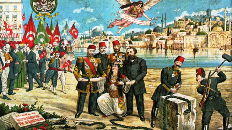 طابع يوناني يحتفي بانقلاب تركيا الفتاة 1908