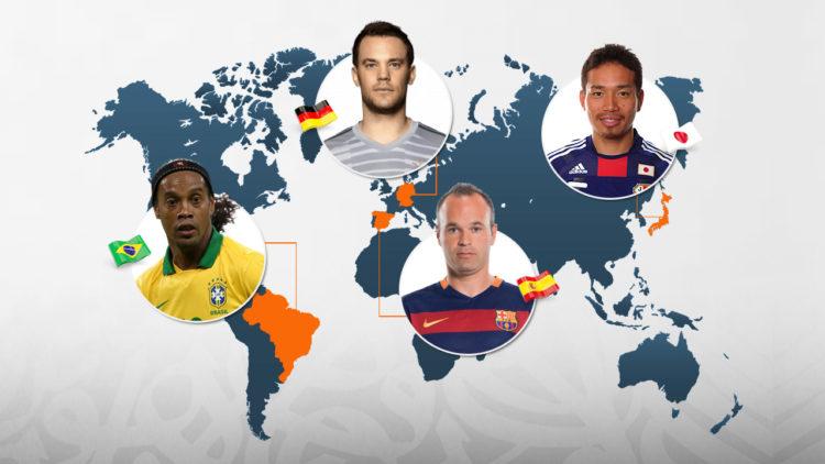 كرة القدم, رونالدينيو, إنييستا, نوير, الديموغرافيا