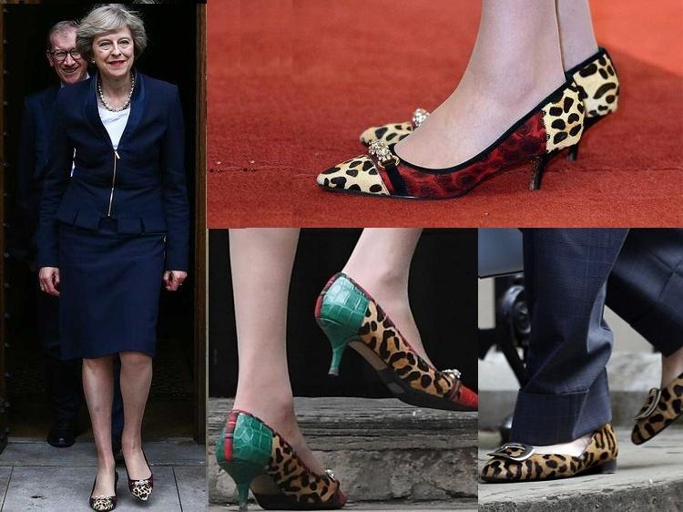 تيريزا ماي حذاء جلد الفهد