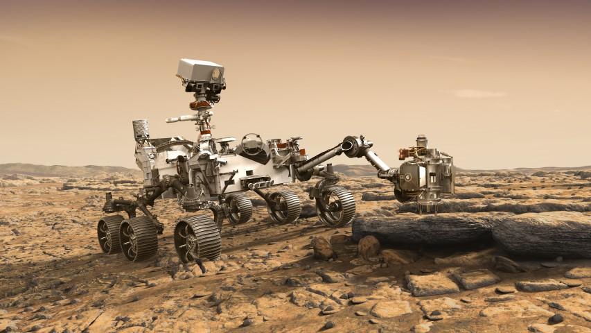 عربة المريخ 2020 وهي تدرس الصخور لبحث قابلية الحياة على المريخ