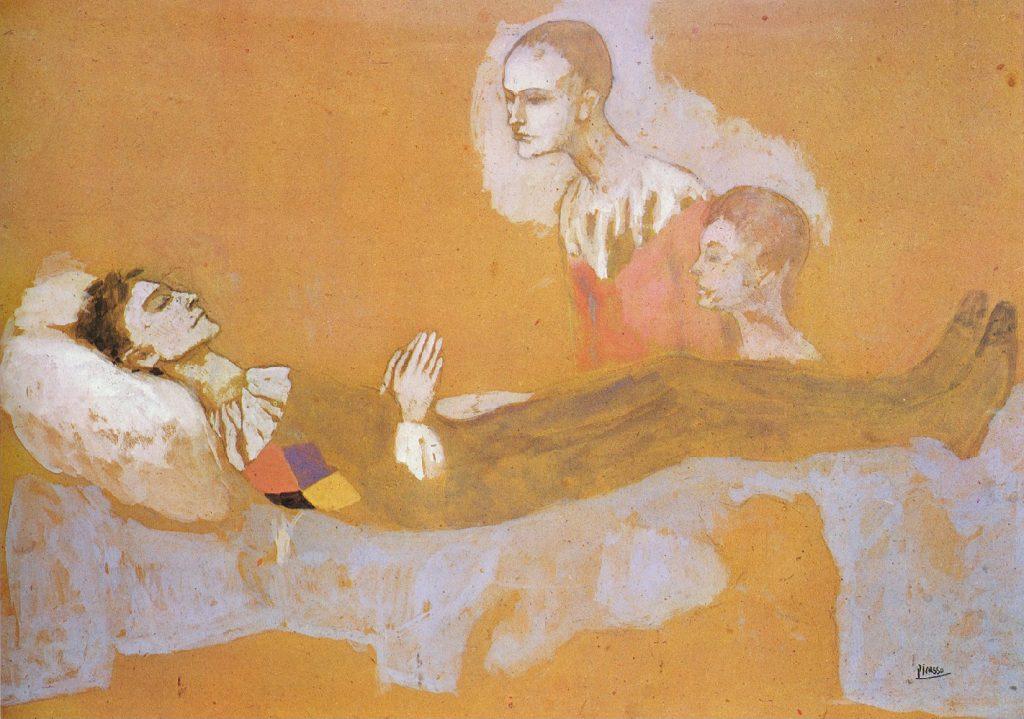 لوحة موت مهرج لبابلو بيكاسو