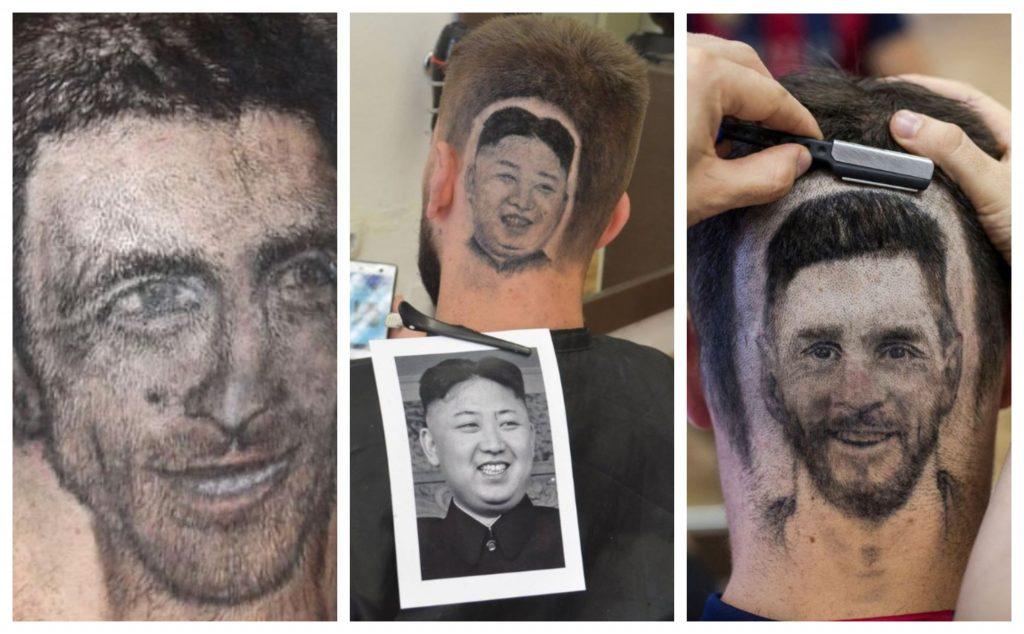 قصات شعر على شكل نجمك المفضل (ميسي يمينًا وديكوفيتش يسارًا ويتوسطهما رئيس كوريا الشمالية