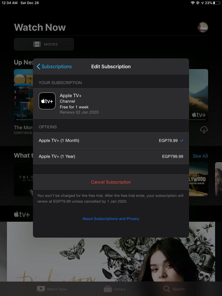 إلغاء الاشتراك في الفترة التجريبية من خدمة Apple TV+