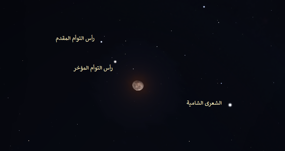 فلك سماء الليل رصد فلكي رأس التوأم المقدم المؤخر الشعرة الشامية