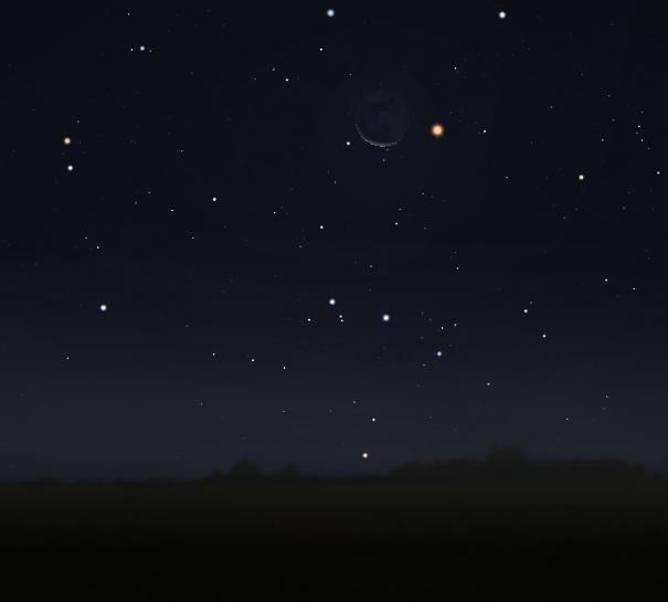 فلك سماء الليل رصد فلكي القمر المريخ