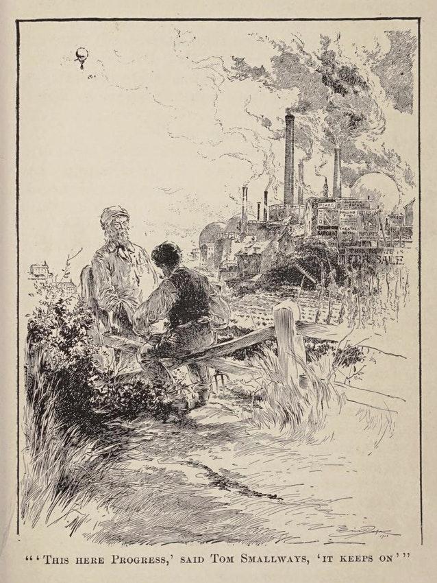 رسم توضيحي لإريك بيب من الطبعة الأمريكية الأولى لرواية «الحرب التي في السماء» (1908)