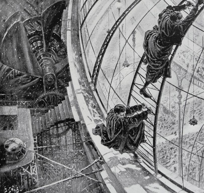 «هروب جراهام»، رسم توضيحي لهنري لانوس من رواية «حين يستيقظ النائم» (1899)، الإصدار السابق من «النائم يستيقظ» (1910).