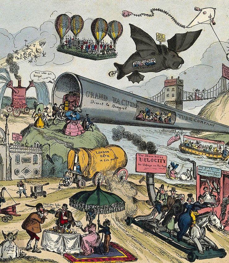تفصيلة من «مسيرة الفكر» (حوالي 1828)، وهو رسم كارتوني ساخر بريشة ويليام هيث
