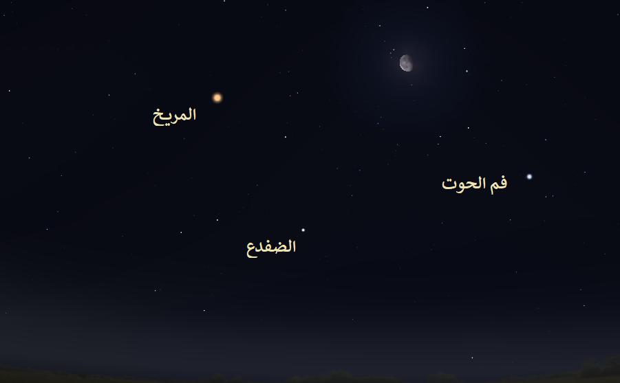 القمر بين نجمي فم الحوت Fomalhaut والضفدع Diphda