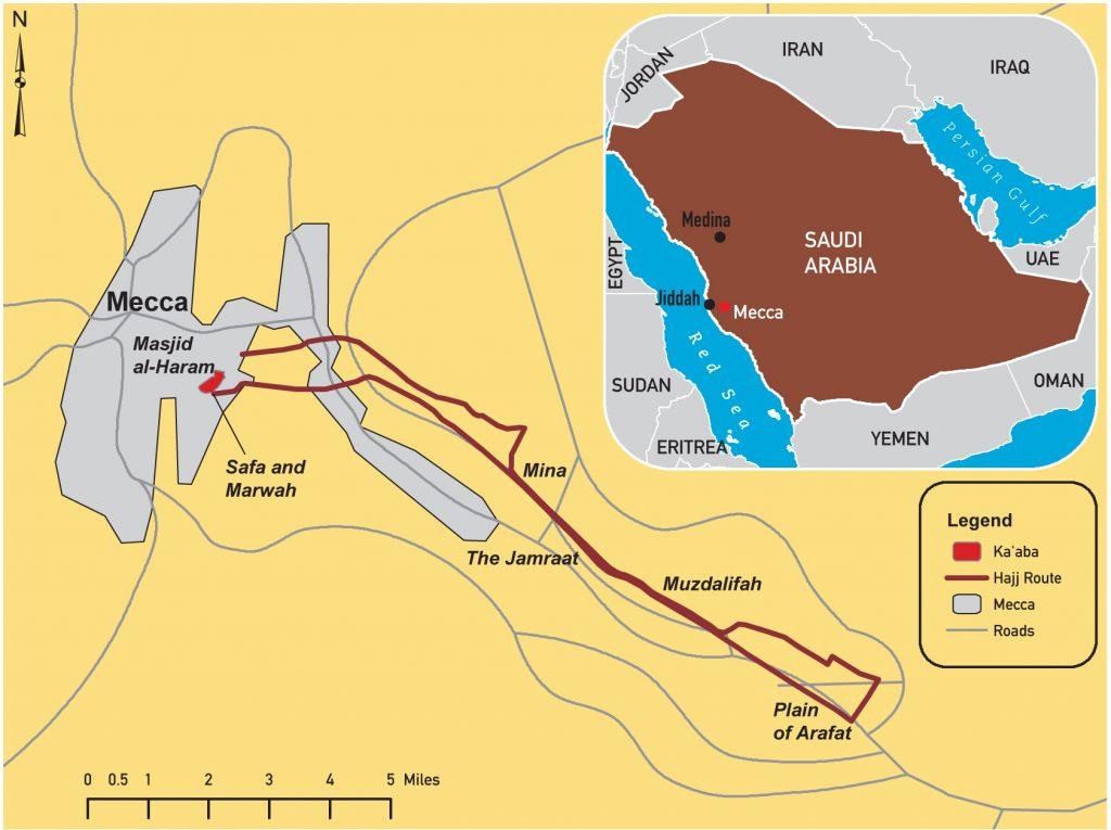 موقع مكة ومسيرة الحج