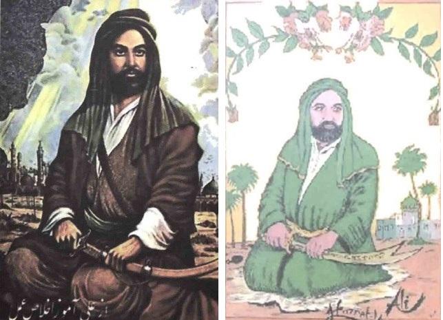 إلى اليمين بورتريه تركي لعلي بن أبي طالب وإلى اليسار بورتريه فارسي أكثر تطورا