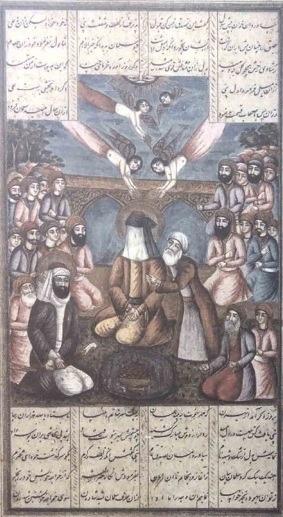 لوحة بنجابية تصور علي بن أبي طالب حاملا سيفه بين يدي النبي صلى الله عليه وسلم الذي يظهر محجوب الوجه