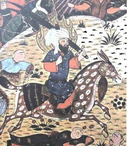 الإمام علي على جواده شاهرا سيفه