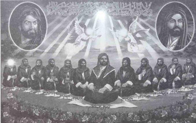 لوحة الأئمة الإثنى عشر للشيعة الإمامية الجعفرية من الفن الشعبي العراقي