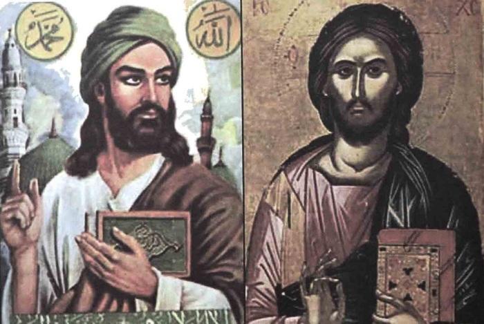 إلى اليمين لوحة للمسيح عليه السلام من جزيرة كريت في القرن السادس عشر وإلى اليسار لوحة لعلي بن أبي طالب رضي الله عنه