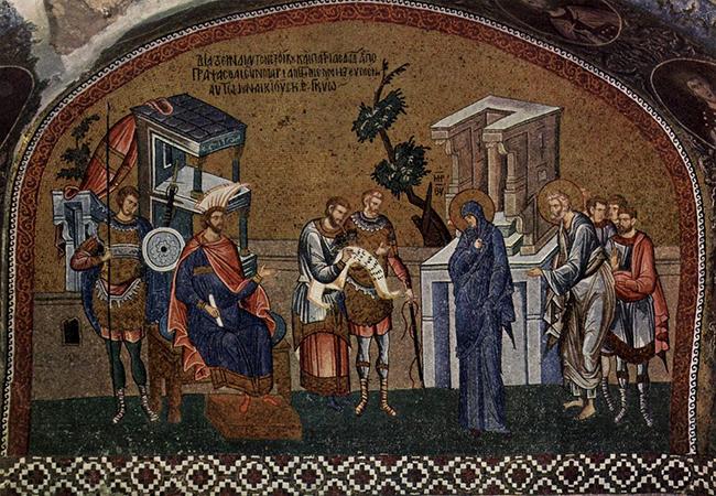 فسيفساء بيزنطية من العصور الوسطى تصور ماري ويوسف يسجلان في التعداد السكاني