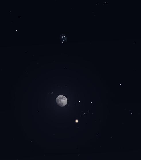 القمر بين الدبران Aldebaran والثريا Pleiades